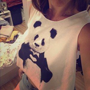 Tops - Brand new panda crop top
